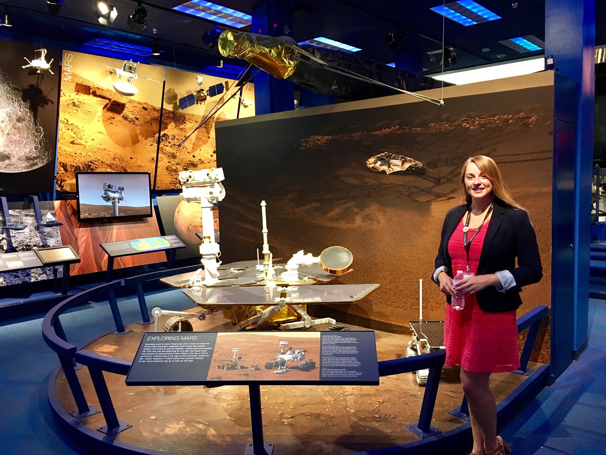 Rachel Hausmann in the museum at JPL