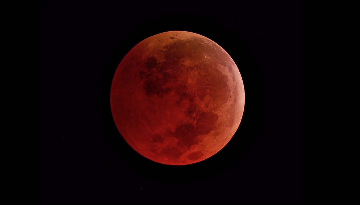 The Moon as seen during a total lunar eclipse at the point of greatest eclipse
