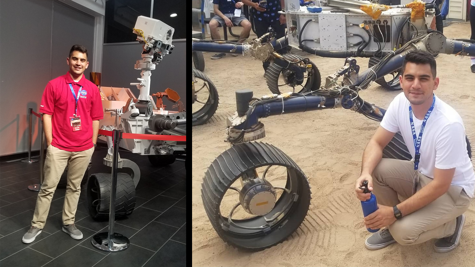 In the image on the left, Richardo Isai Melgar poses in front of a model of the Curiosity Mars rover at JPL. In the image on the right, he kneels in front of a model Mars rover in the Mars Yard at JPL.