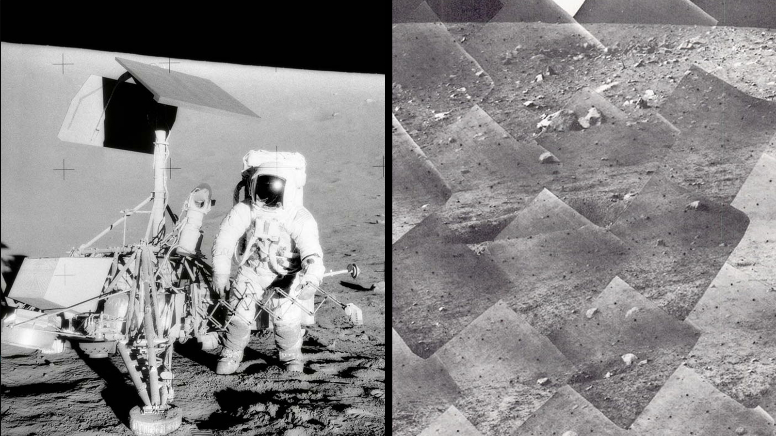 Side-by-side image of an astronaut next to the Surveyor 7 lander and a mosaic of images from Surveyor 3