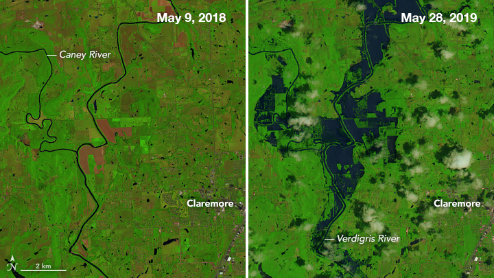 Side-by-side images showing the river on a typical day and the river flooded