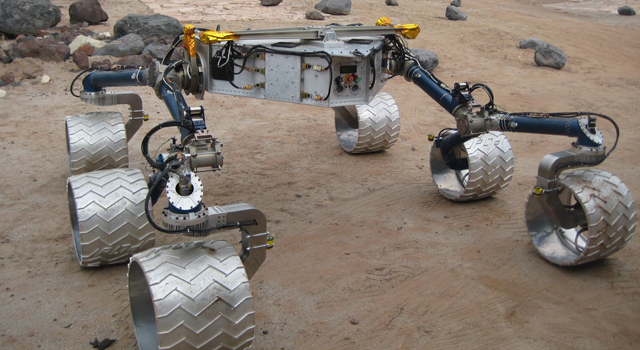 A mobility skeleton of NASA's Curiosity rover sits in the Mars Yard at NASA's Jet Propulsion Laboratory