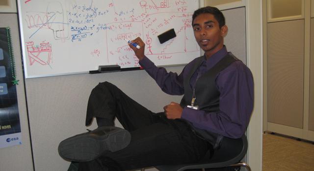 Intern Deepak Atyam at NASA's Jet Propulsion Laboratory in summer 2010