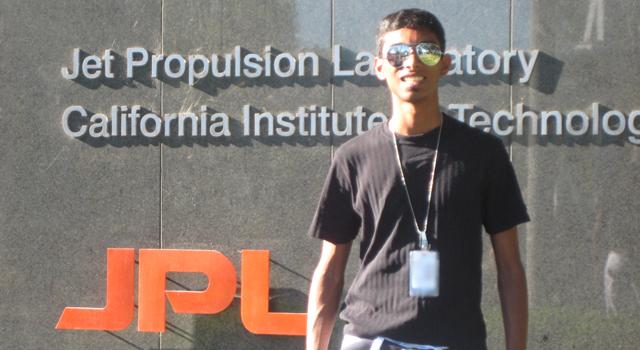 Intern Deepak Atyam at NASA's Jet Propulsion Laboratory in summer 2011