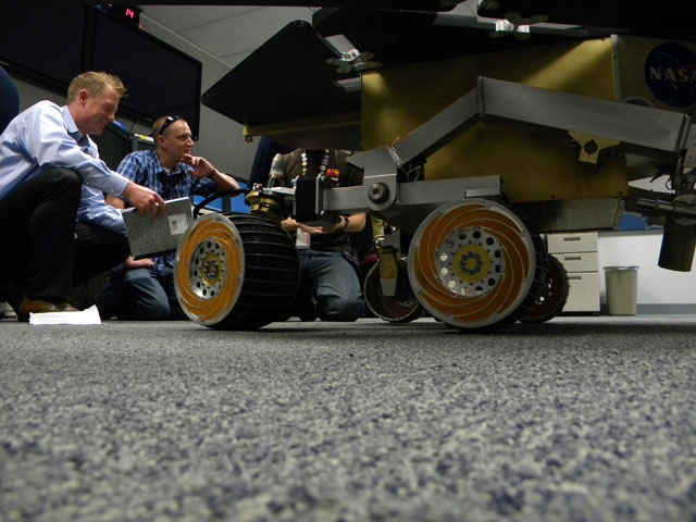 A full-scale Mars rover model named Bubba