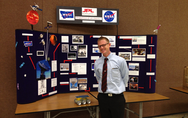 Andrew Crawford presents his research at the Montana Space Grant Consortium Research Symposium