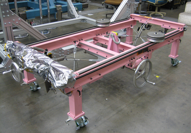 The 'pink pig,' a piece of support equipment for the rover mobility system