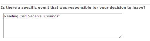 Screen shot from Nathaniel Guy's exit survey from Nintendo saying his reason for leaving was Carl Sagan's Cosmos