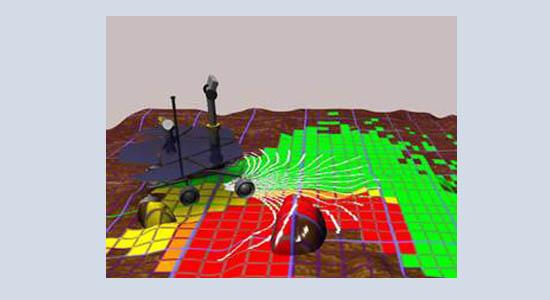 graphic showing Mars Exploration Rover navigation technique