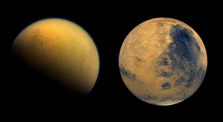 Exploring Mars and Titan using laboratory