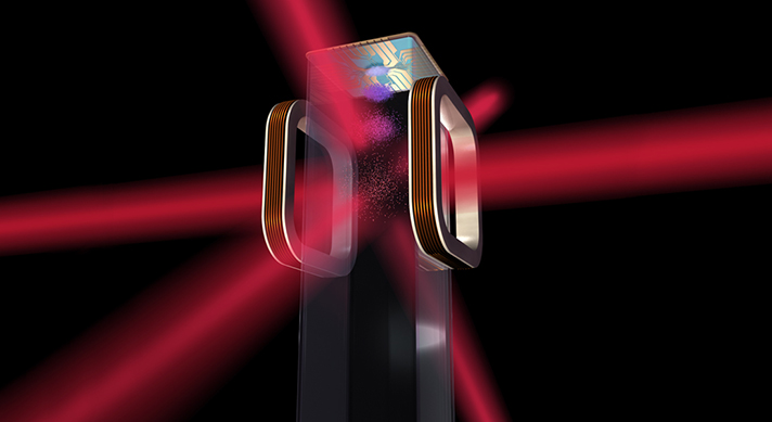 Artist s concept of a magneto-optical trap and atom chip
