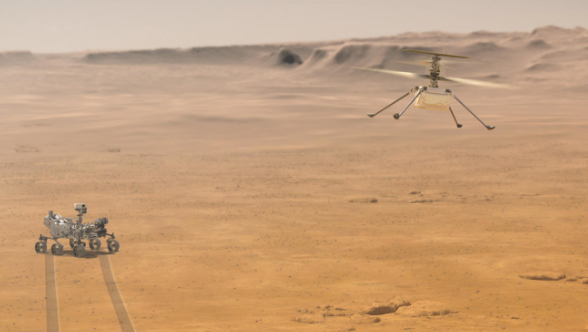 Mars 2020 Perseverance Rover in the distance, Ingenuity helicopter flying.  Artists Concept