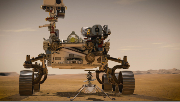 In February 2021, NASA's Mars 2020 Perseverance rover and NASA's Ingenuity Mars Helicopter (shown in an artist's concept) will be the agency's two newest explorers on Mars. Both were named by students as part of an essay contest.