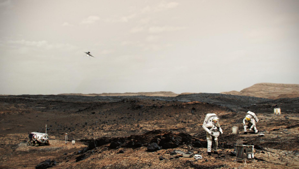 This illustration shows NASA astronauts working on the surface of Mars. A helicopter similar to the Ingenuity Mars Helicopter is airborne at left.