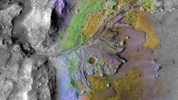 Satellite image of Jezero Crater
