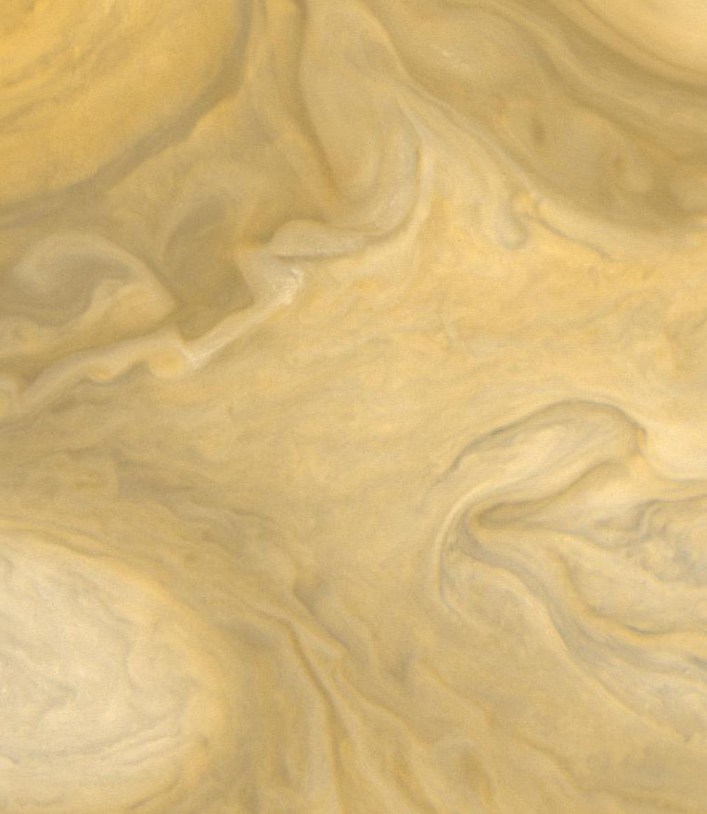This view of the region just to the Southeast of the Great Red Spot was taken by NASA's Voyager 1 on March 4, 1979 at a distance of 1,100,000 miles (1,800,000 km).