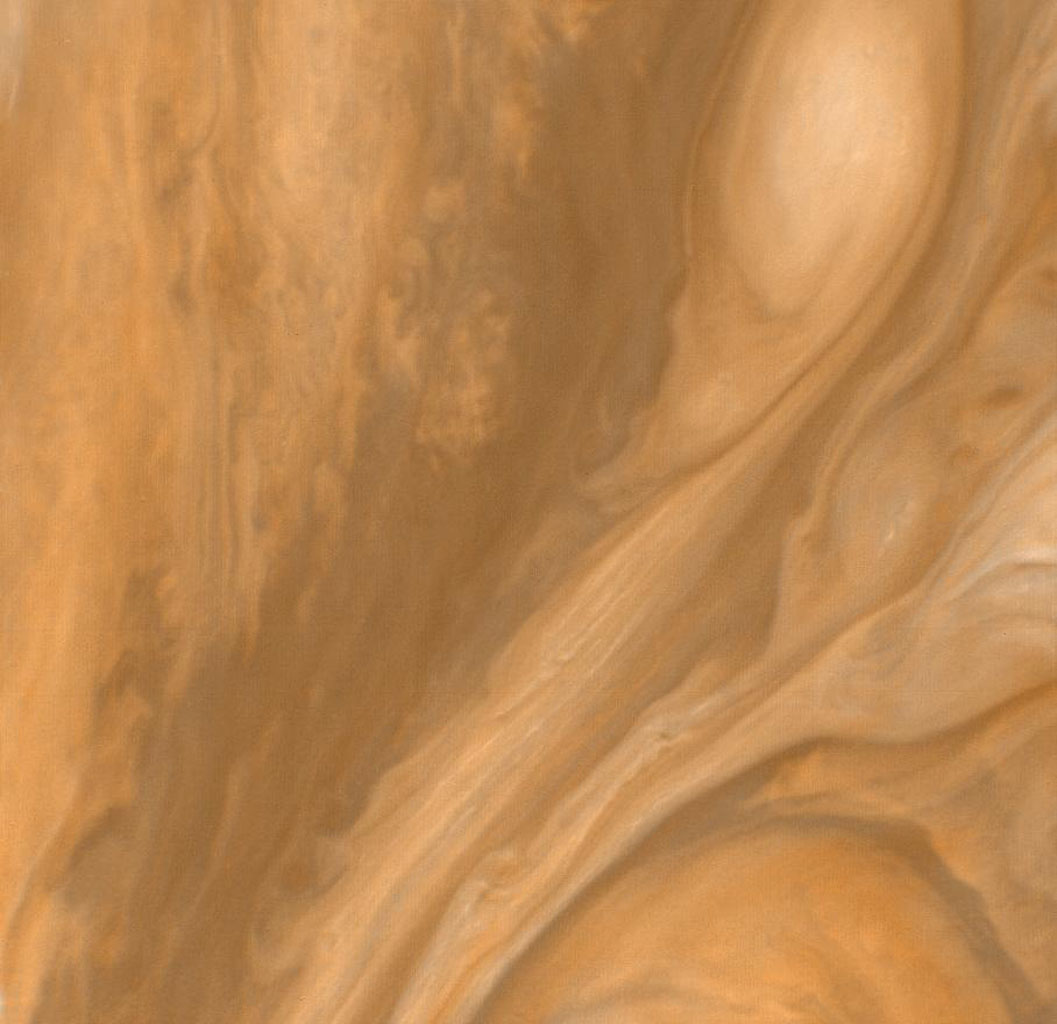 This color view of the region just to the East of the Great Red Spot was taken by NASA's Voyager 1 on March 4, 1979 at a distance of 1,000,000 miles (1,800,000 km).