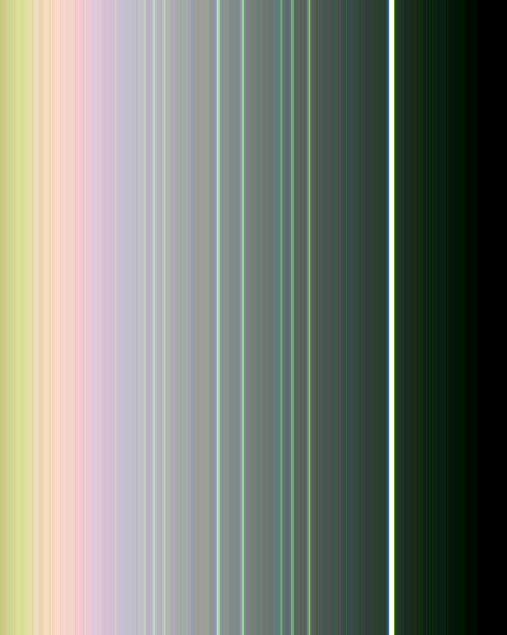 This false-color view of the rings of Uranus was made from images taken by NASA's Voyager 2 on Jan. 21, 1986. All nine known rings are visible here; the somewhat fainter, pastel lines seen between them are contributed by the computer enhancement.