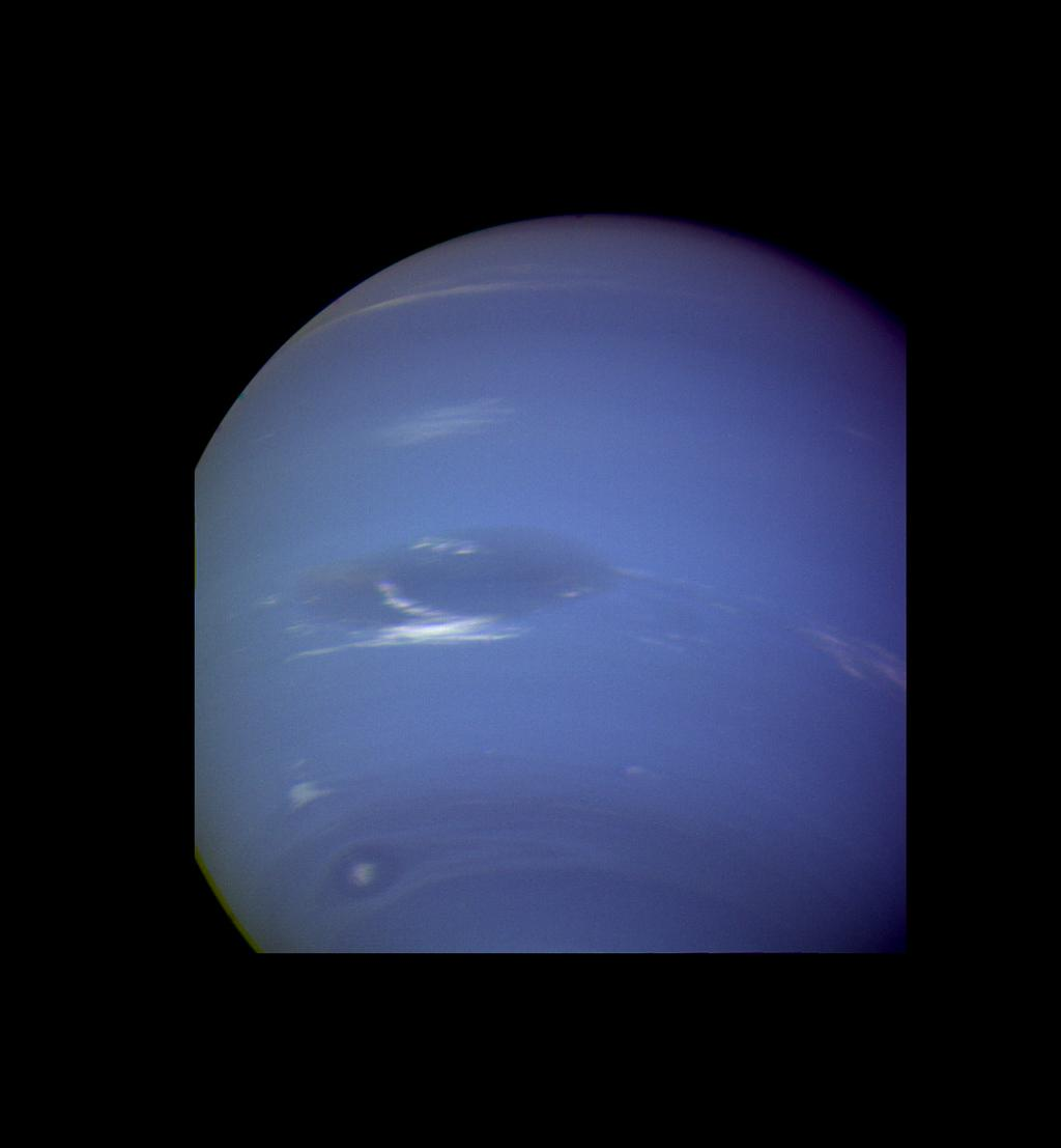 This image of clouds in Neptune's atmosphere is the first that tests the accuracy of the weather forecast that was made eight days earlier to select targets for NASA's Voyager narrow angle camera.