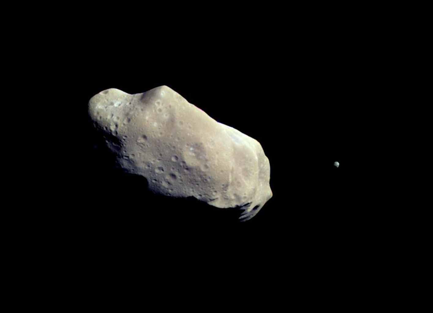 This color picture is made from images taken by the imaging system on NASA's Galileo spacecraft about 14 minutes before its closest approach to asteroid 243 Ida on August 28, 1993.