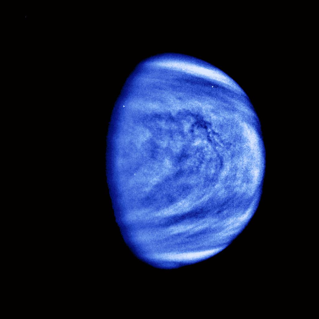 This picture of Venus was taken by the NASA's Galileo spacecraft's Solid State Imaging System on February 14, 1990, at a range of almost 1.7 million miles from the planet.
