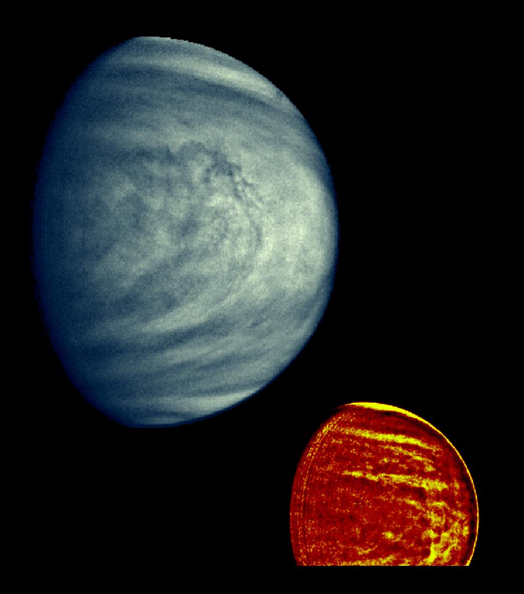 These two images of Venus from NASA's Galileo spacecraft show the global structure of cloud patterns at two different depths in the upper cloud layers.