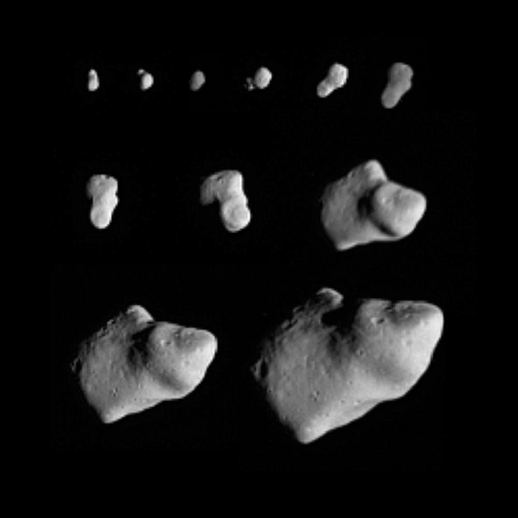 This montage of 11 images taken by NASA's Galileo spacecraft as it flew by the asteroid Gaspra on Oct. 1991, shows Gaspra growing progressively larger in the field of view of Galileo's solid-state imaging camera as the spacecraft approached the asteroid.