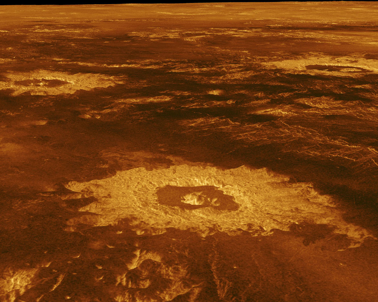 Three impact craters are displayed in this three-dimensional perspective view from NASA's Magellan spacecraft of the surface of Venus. The center of the image is located in the northwestern portion of Lavinia Planitia.