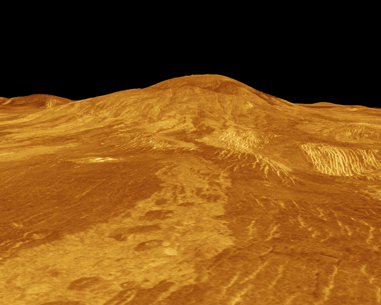 Sif Mons is displayed in this computer-simulated view obtained by NASA's Magellan spacecraft of the surface of Venus.