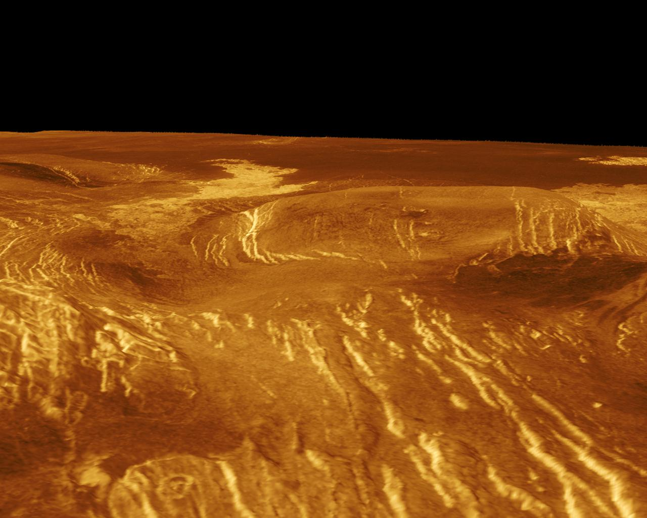 A corona is displayed in this computer-simulated view from NASA's Magellan spacecraft of the surface of Venus.
