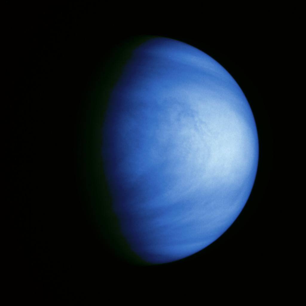 This colorized picture of Venus was taken Feb. 14, 1990, from a distance of almost 1.7 million miles, about 6 days after NASA's Galileo made it's closest approach to the planet.
