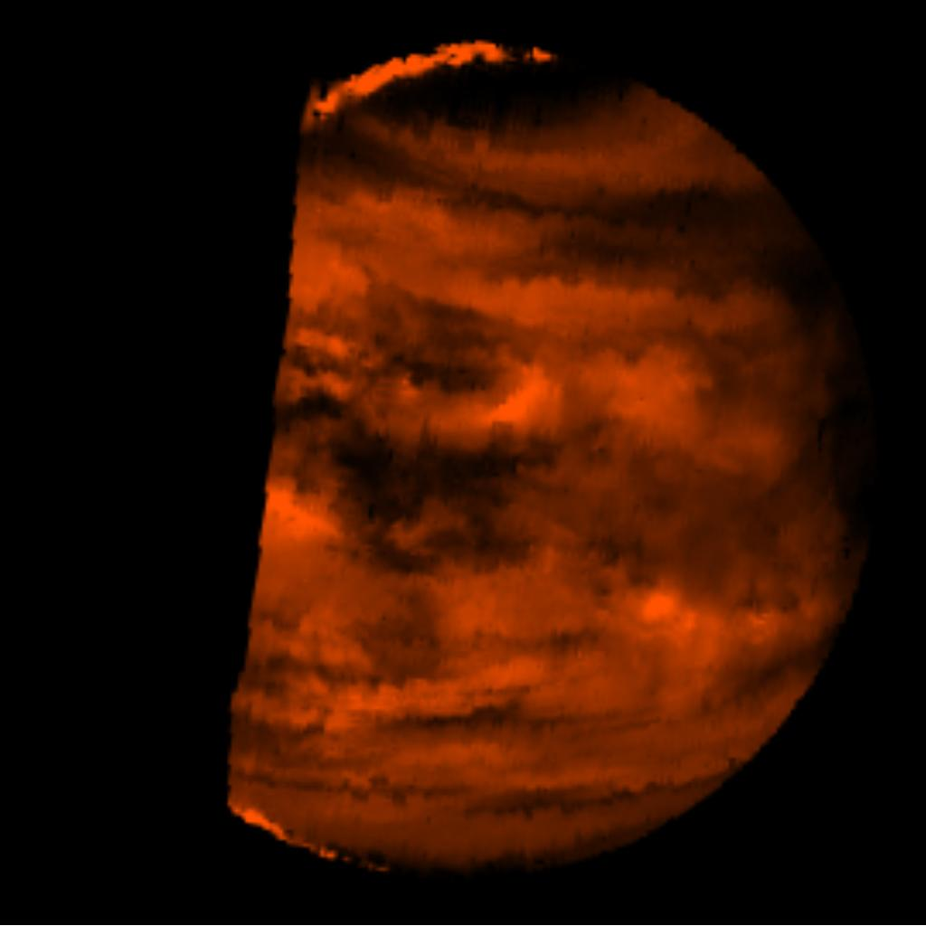 This false-color image is a near-infrared map of lower-level clouds on the night side of Venus, obtained by NASA's Galileo spacecraft as it approached the planet's night side on Feb. 10, 1990.