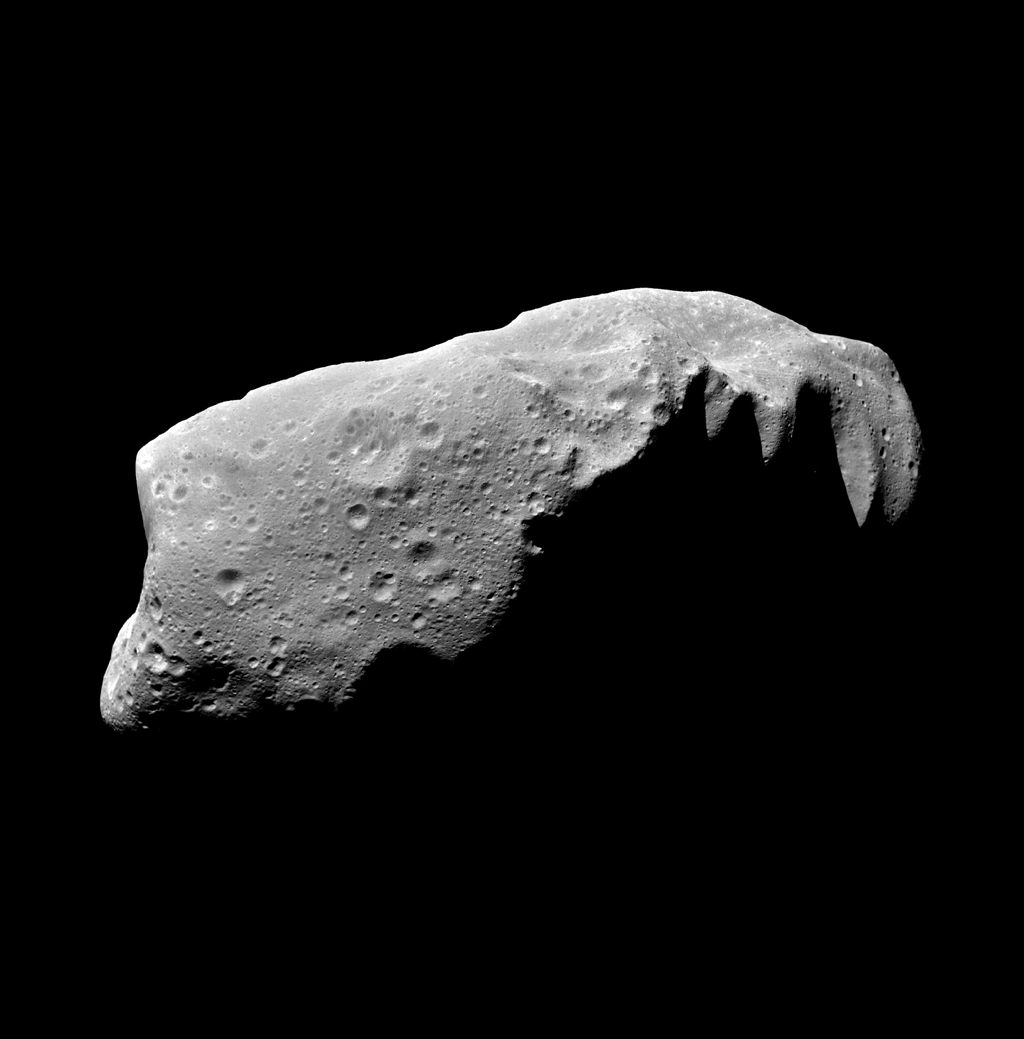 This view of the asteroid 243 Ida is a mosaic of five image frames acquired by NASA's Galileo spacecraft's solid-state imaging system at ranges of 3,057 to 3,821 kilometers (1,900 to 2,375 miles) on August 28, 1993.