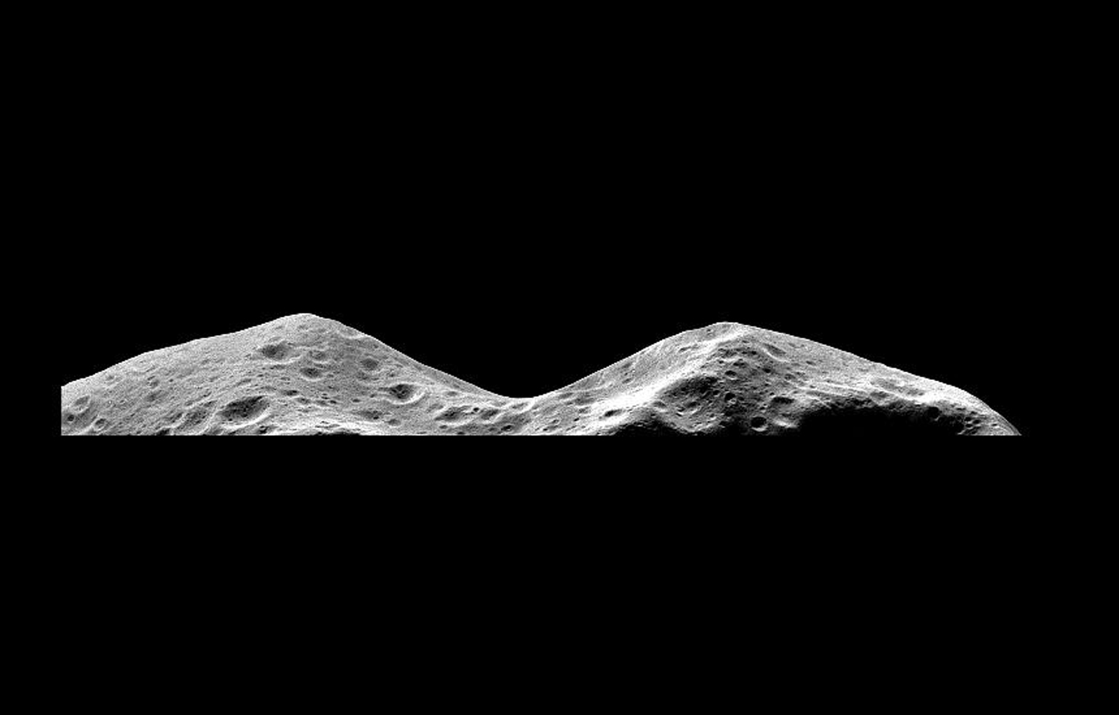 NASA's Galileo imaging system captured this picture of the limb of the asteroid 243 Ida about 46 seconds after its closest approach on August 28, 1993, from a range of only 2480 kilometers.