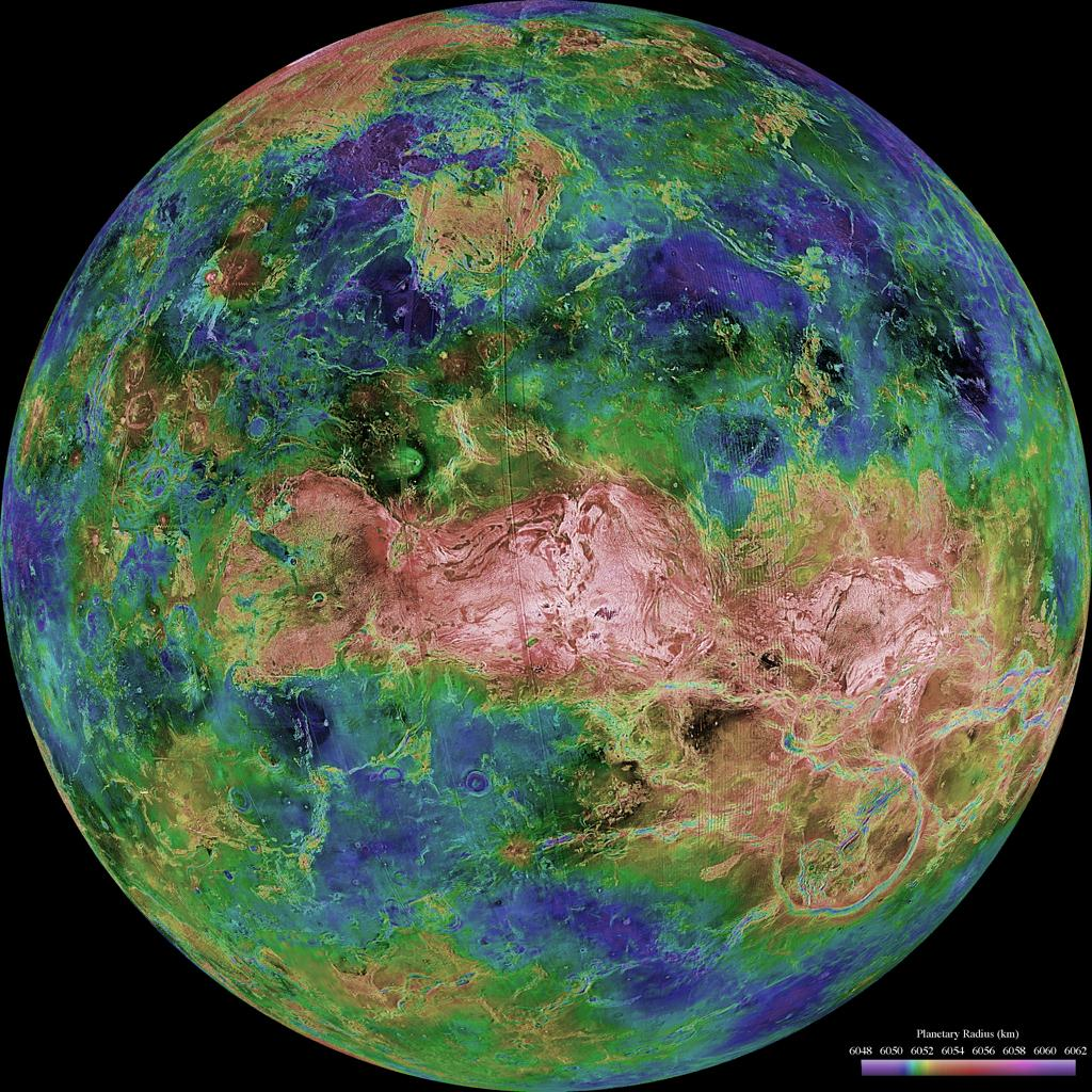 The hemispheric view of Venus, as revealed by more than a decade of radar investigations culminating in NASA's 1990-1994 Magellan mission, is centered at 90 degrees east longitude.