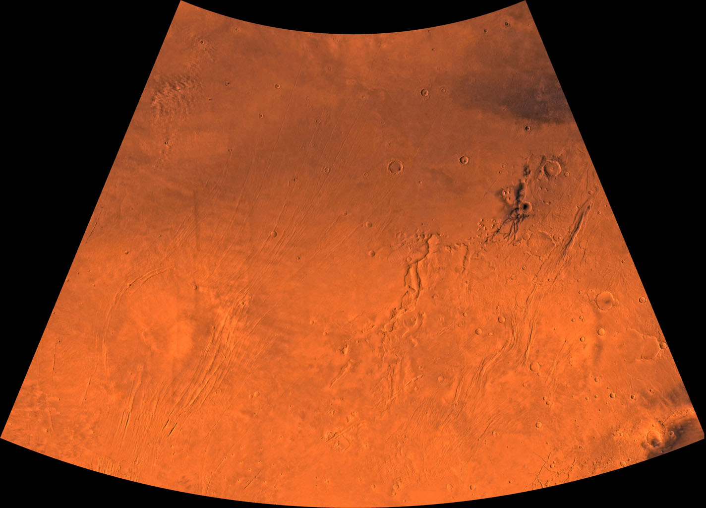 Mars digital-image mosaic merged with color of the MC-3 quadrangle, Arcadia region of Mars. This image is from NASA's Viking Orbiter 1.
