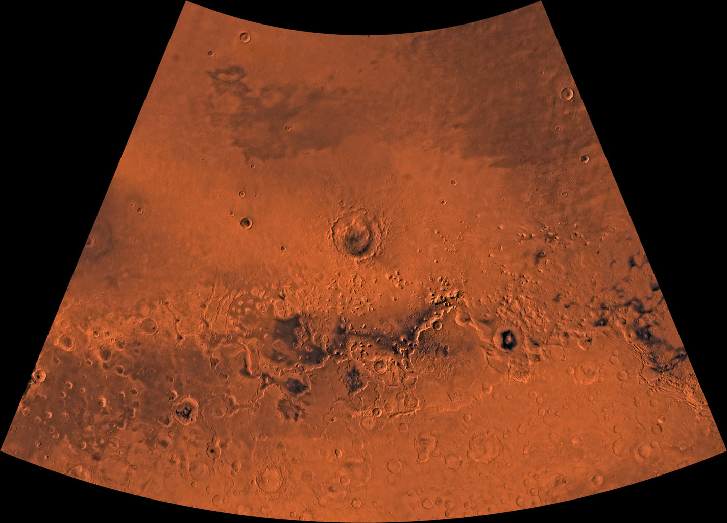 Mars digital-image mosaic merged with color of the MC-5 quadrangle, Ismenius Lacus region of Mars. This image is from NASA's Viking Orbiter 1.