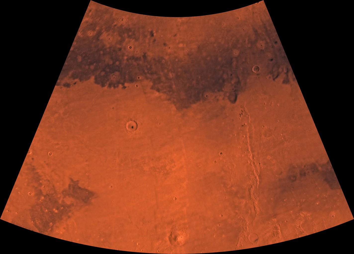 Mars digital-image mosaic merged with color of the MC-7 quadrangle, Cebrenia region of Mars. This image is from NASA's Viking Orbiter 1.