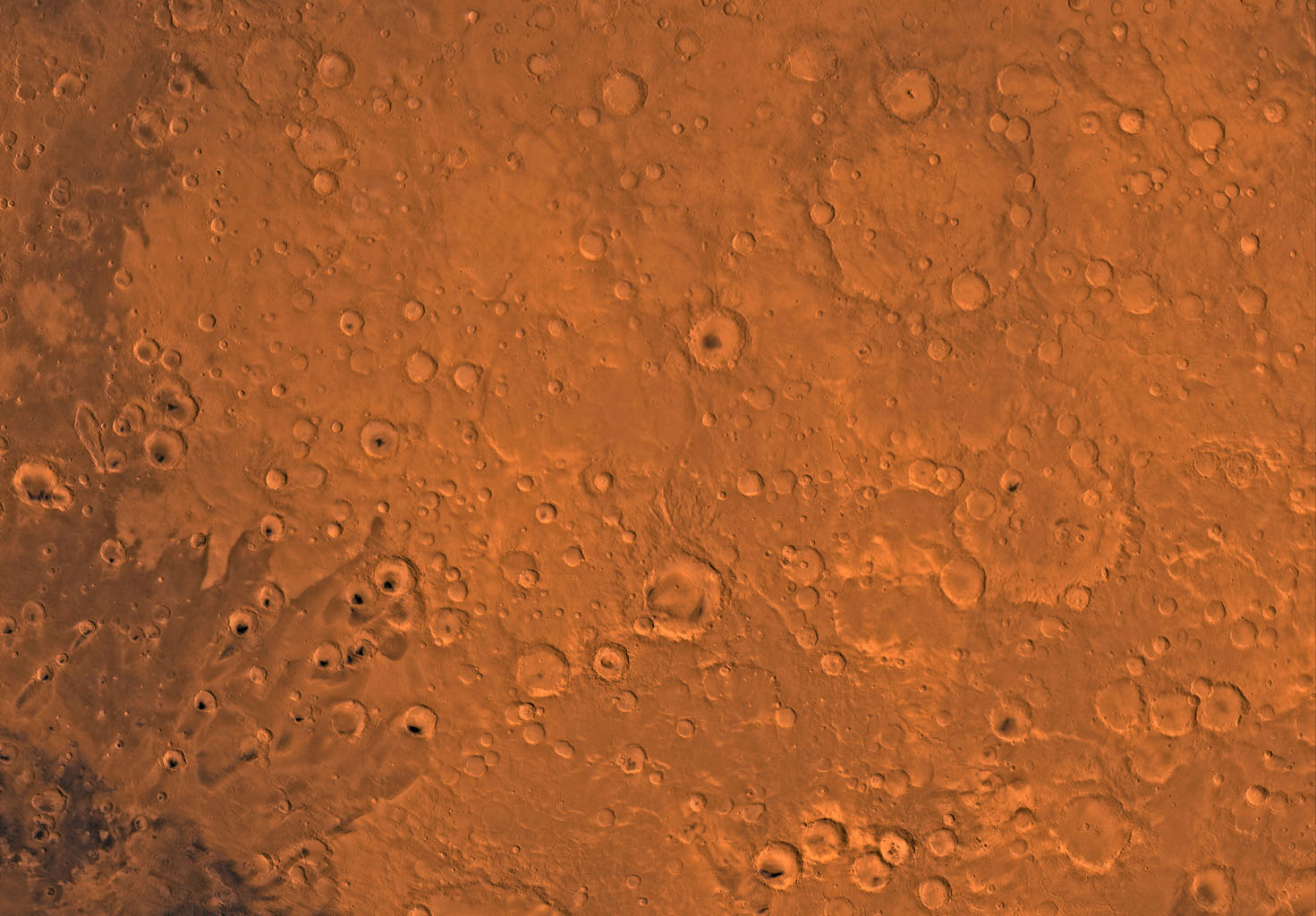 Mars digital-image mosaic merged with color of the MC-12 quadrangle, Arabia region of Mars. This image is from NASA's Viking Orbiter 1.