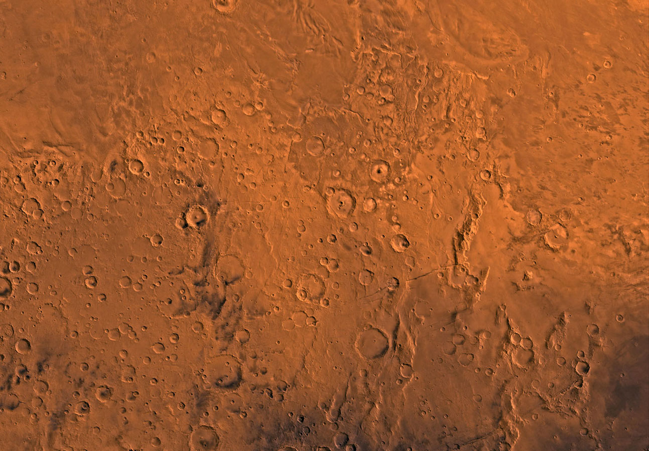 Mars digital-image mosaic merged with color of the MC-16 quadrangle, Memnonia region of Mars. This image is from NASA's Viking Orbiter 1.