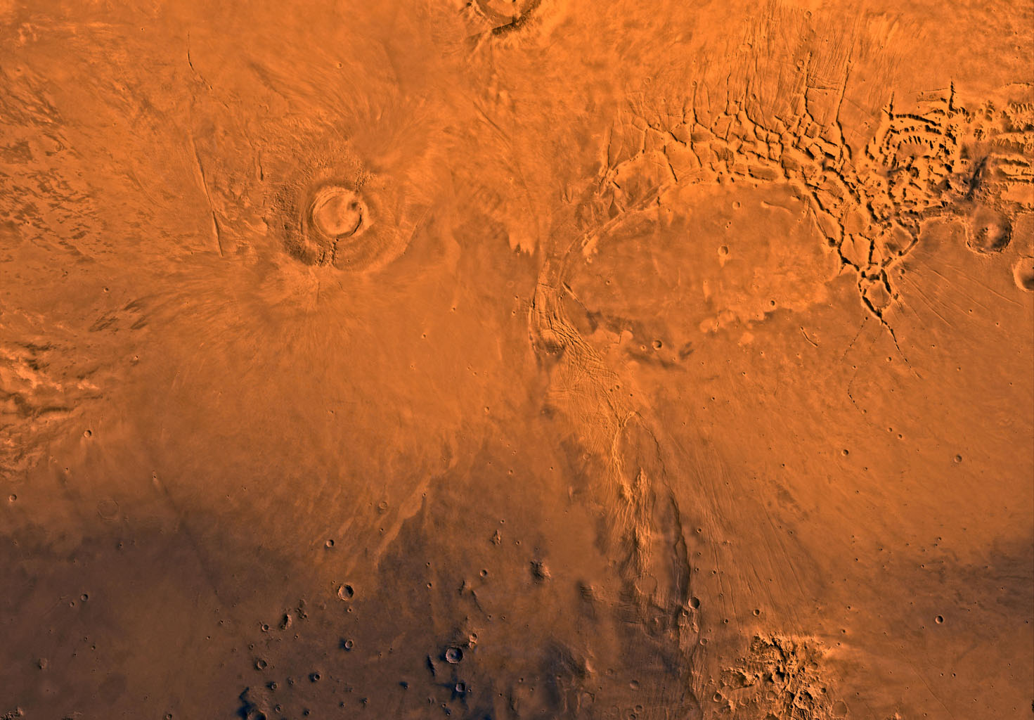 Mars digital-image mosaic merged with color of the MC-17 quadrangle, Phoenicis Lacus region of Mars. This image is from NASA's Viking Orbiter 1.