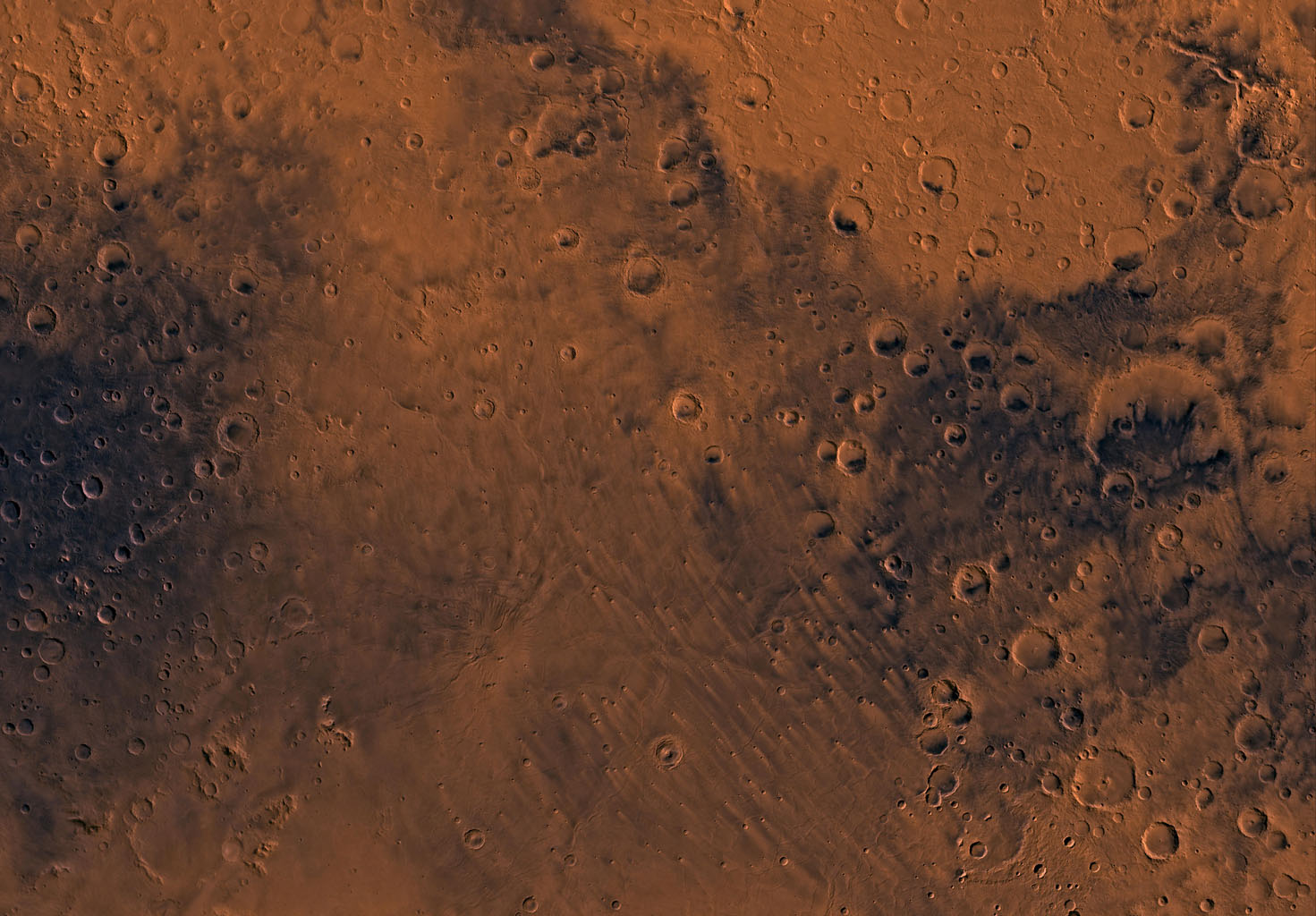 Mars digital-image mosaic merged with color of the MC-22 quadrangle, Mare Tyrrhenum region of Mars. This image is from NASA's Viking Orbiter 1.