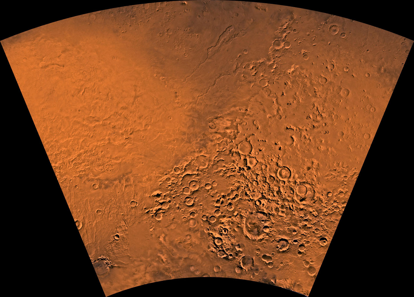 Mars digital-image mosaic merged with color of the MC-28 quadrangle, Hellas region of Mars. This image is from NASA's Viking Orbiter 1.