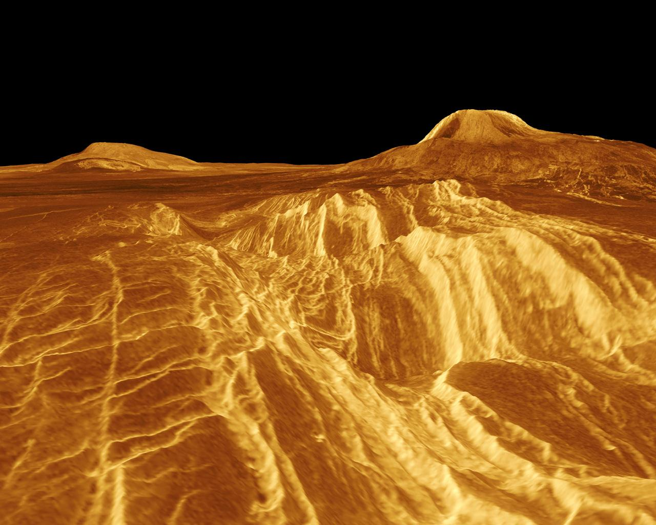 A portion of western Eistla Regio is shown in this three dimensional, computer-generated view of the surface of Venus. This NASA Magellan image was released on April 22, 1992.
