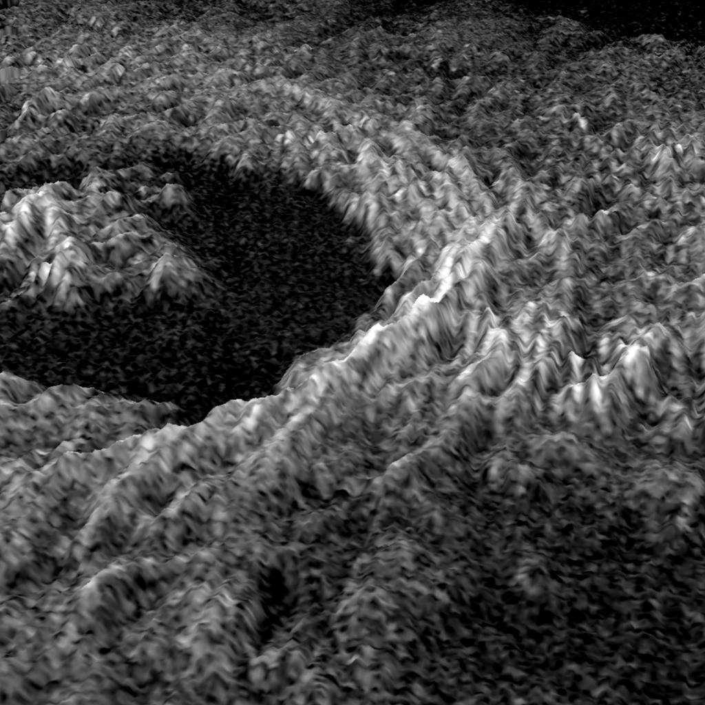 This three dimensional representation of brightness variations in NASA's Magellan radar image of Golubkina crater enhances the structural features of the crater.