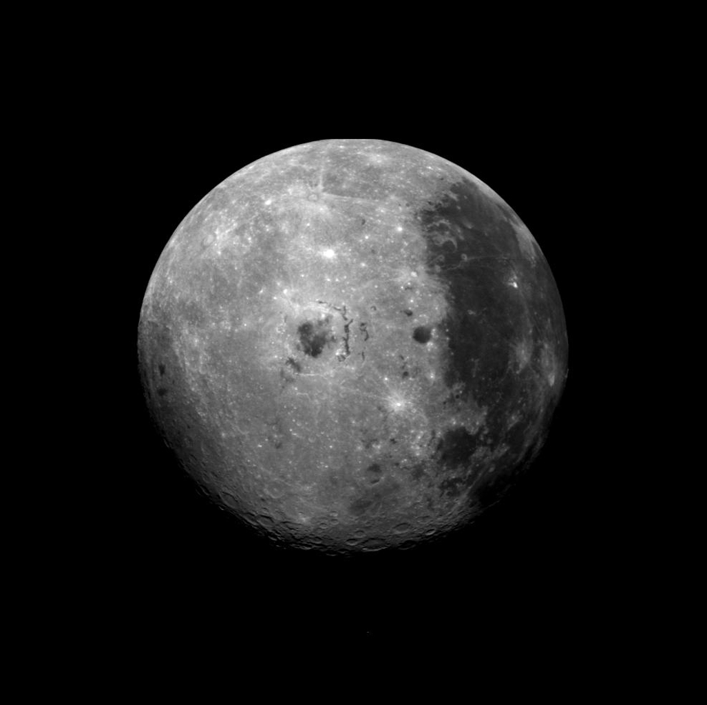 This image of the moon was obtained by the Galileo Solid State imaging system on Dec. 8 at 7 p.m. PST as NASA's Galileo spacecraft passed the Earth and was able to view the lunar surface from a vantage point not possible from the Earth.
