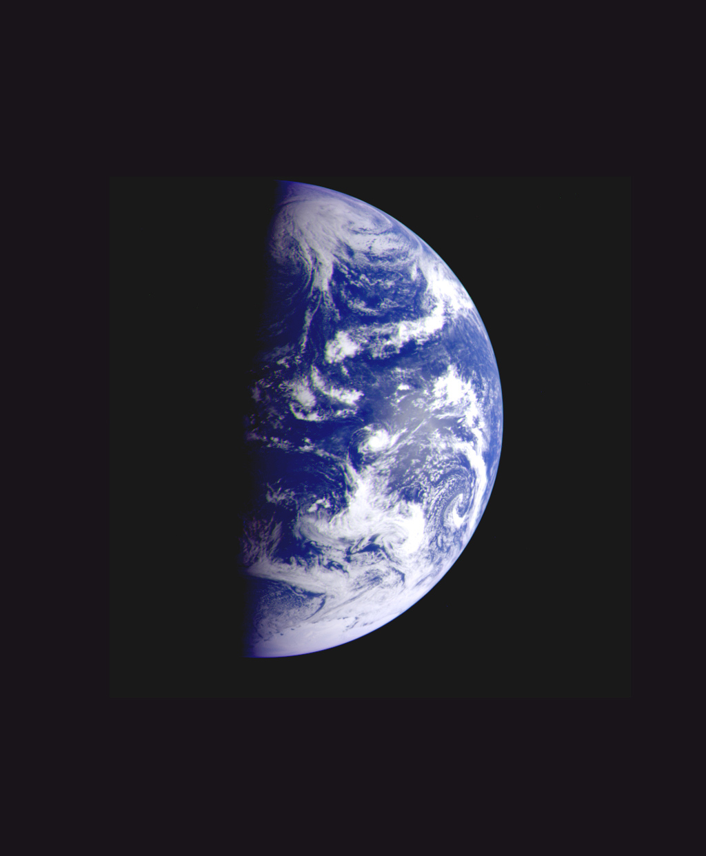 This color image of the Earth was taken by NASA's Galileo spacecraft on December 11 as it departed on its 3-year flight to Jupiter, about 2 1/2 days after the second Earth flyby.