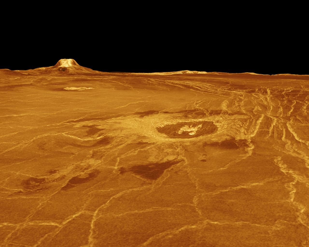 A portion of western Eistla Regio is displayed in this three-dimensional perspective view of the surface of Venus as seen by NASA's Magellan spacecraft.