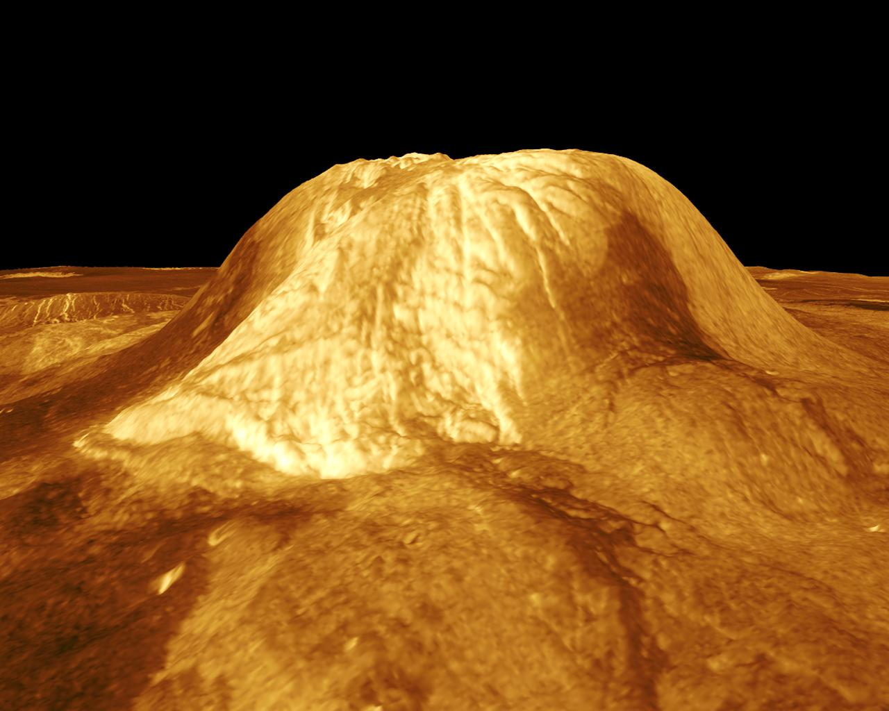 Gula Mons is displayed in this computer-simulated view from NASA's Magellan spacecraft  of the surface of Venus.