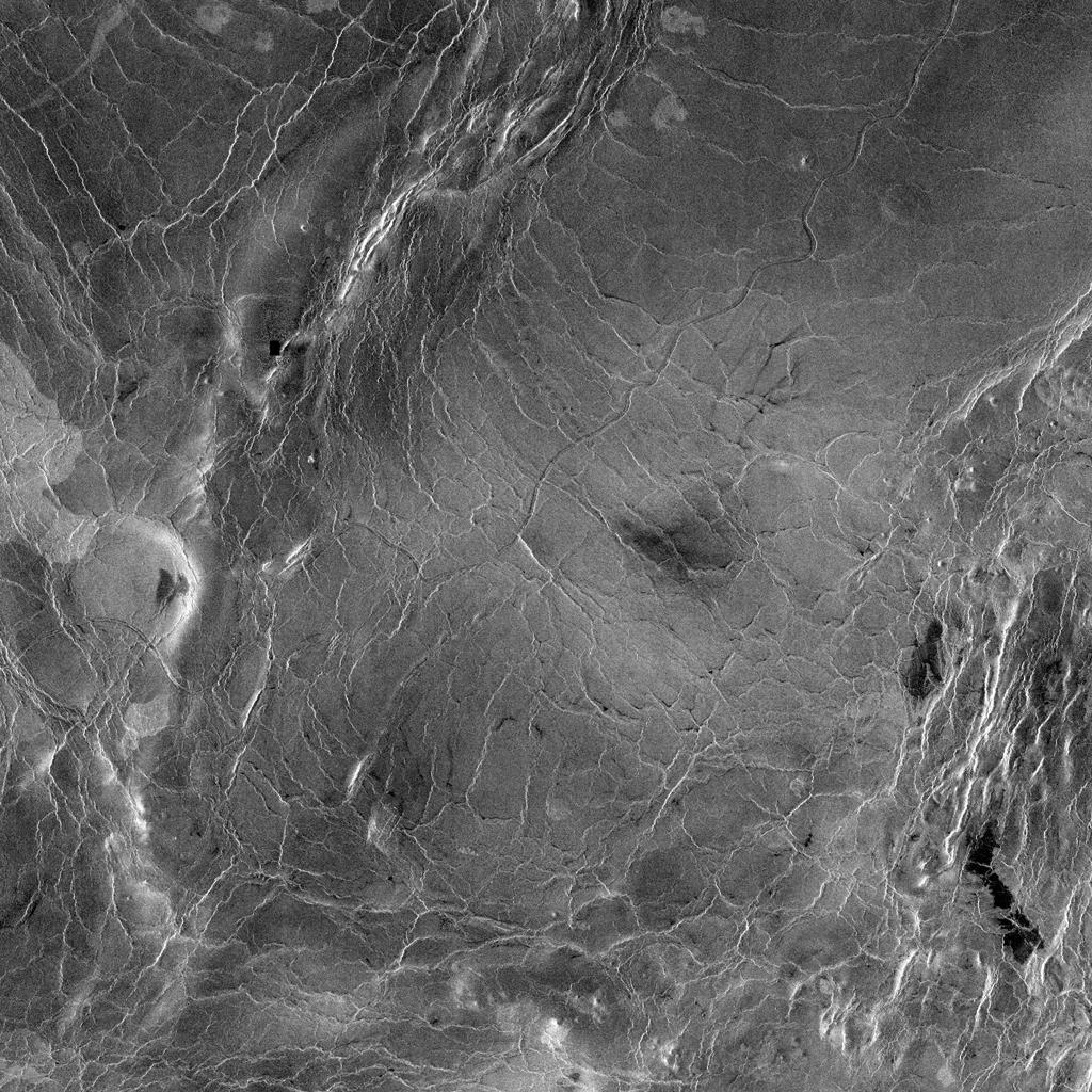 This compressed resolution radar mosaic from NASA's Magellan spacecraft shows a 600 kilometers (360 mile) segment of the longest channel discovered on Venus in 1990.